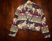 90s- Vintage SOUTHWESTERN Cropped New Mexico Silverado Jacket - Size L XL