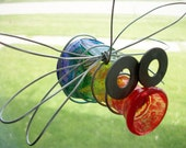 Outdoor Hanging Glass Bud Vase Jar Bug Garden Decor- RAINBOW