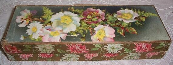ANTIQUE Cardboard Glove Box...ROSES Lithograph & Kidskin Gloves