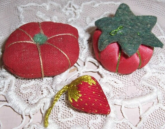 ANTIQUE Embroidered Strawberry Sewing Emery plus BONUS