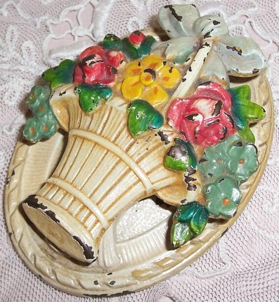 ANTIQUE Cast Iron ROSES/Flower Basket Door Knocker...SALE