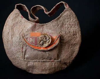 Brown Hobo bag made from recycled fused grocery bags