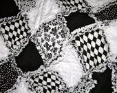Reserved for Alexandra  Bold Graphic Black and White III Baby Rag Quilt