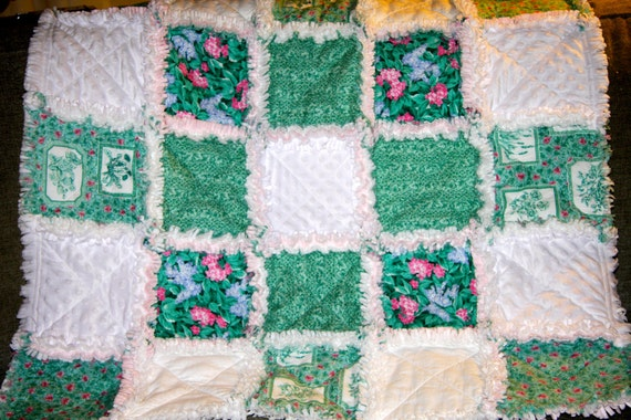 Flowers and Ivy Rag Quilt Baby or Lap Quilt