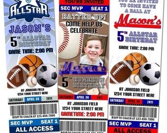 Sports Birthday Party Ticket Style Invitations Favors MVP