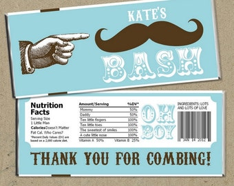 Mustache Bash Baby Shower Party Favors Candy Bar Wrappers - Digital U Print DIY