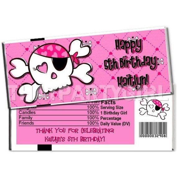 Pink Pirate Skull Birthday Party Candy Bar Wrappers Favors Digital U Print
