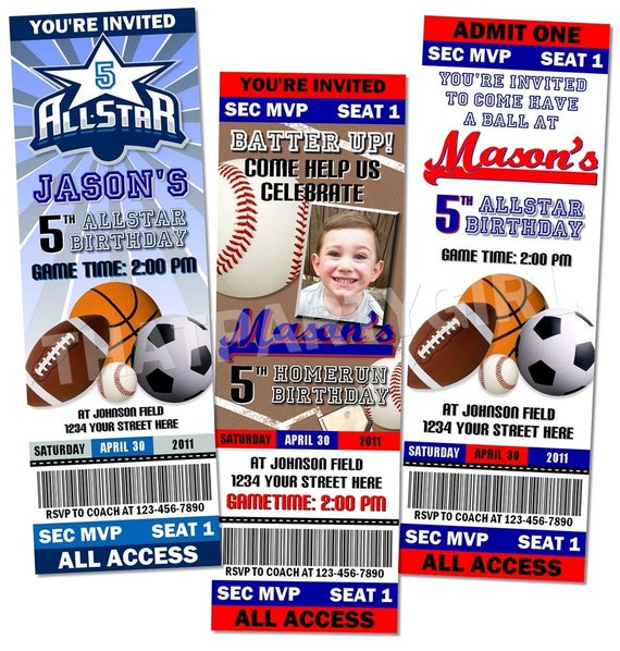 36 Sports Birthday Party Ticket Style Invitations Favors MVP – Ticket Style Birthday Invitations