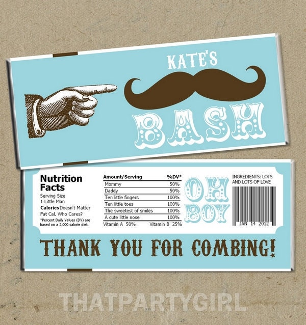 Baby Shower Mustache Theme: Mustache Bash Baby Shower Party Favors Candy Bar Wrappers