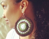 Crochet earrings - White, Green, and Brown