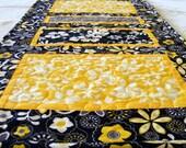Sunny Tropical Hawaiian Print Tablerunner in Yellow, Black and Gray