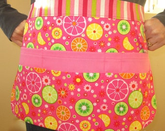 8-Pocket Utility Tool Gardening Apron in Pink Green Yellow White Citrus Print - size S/M - Free Seeds Included!