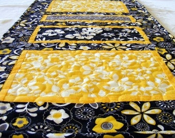 BOGO sale on now! Sunny Tropical Hawaiian Print Tablerunner in Yellow, Black and Gray