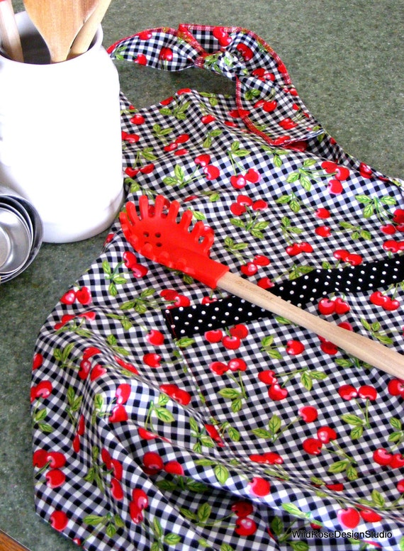 ON SALE! Full Apron in Black and White Gingham with Red Cherries Print // 25% OFF