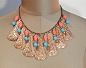 RESERVE for VintageJewelryLounge's Profile  70s Copper Embellished Ethnic Boho Dangling Choker with Turquoise and Coral Beads