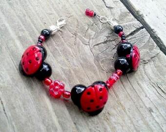 Little Girl Children Jewelry Ladybug Little Girl Gift Young Girl Bracelet SALE Jewelry