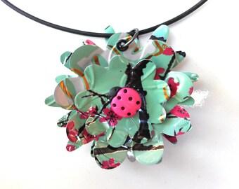 Tween Jewelry Recycled Soda Can Jewelry Ladybug Tween Girl Gift Necklace Arizona Tea Flower - N044