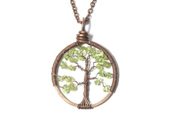 The Petite Tree of Life Antiqued Copper Necklace in Peridot.