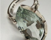 Vintage Taxco Sterling Silver HUGE Marquis cut Pale Aquamarine Cocktail Ring sz 6