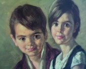 RESERVED for Mary Oil Painting Original Vintage Boy, Girl & Dog Peasants Framed 1968 Signed by Artist