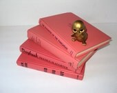 Coral Instant Library Collection Books by Color Bundle 3 Vintage Decorative Books Photography Props