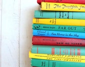 Books by the Foot Custom Colors Instant Library Collection Decorative Books Photography Props Teal Blue Green Aqua Red Yellow
