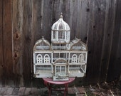 Reserved SALE Vintage Wooden Bird Cage white chippy Paint Victorian Shabby Chic Mansion Bird House