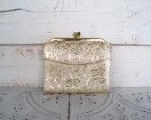 Vintage Amity Cowhide Wallet Clutch Purse Gold & Cream