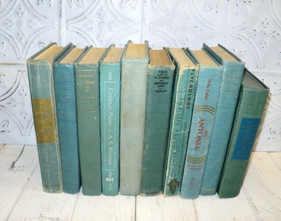 Sea Glass Books Instant Library Collection Decorative Books Photography Props Teal Blue Green Aqua Shabby Chic