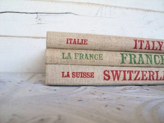 Italy France & Switzerland Vintage Travel Photography Books Instant Foreign Library Collection