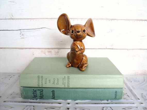 Mouse Figurine with Big Ears Brown signed Jon or Jan