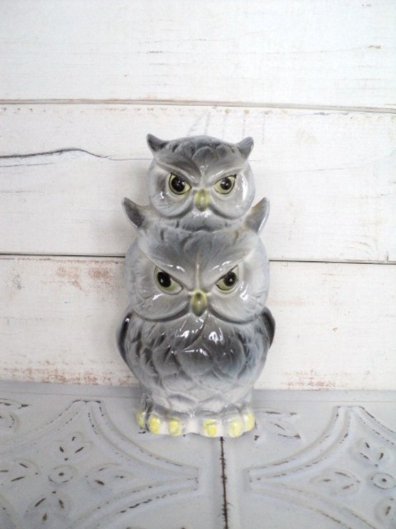 Vintage Totem Pole Owl Piggy Bank Pacific Import Japan Gray 2 owls