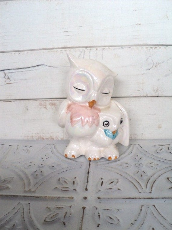 Vintage Owl Mamma & Baby Figurine Pearly White- Perfect Gift for Mother's Day Mother Child