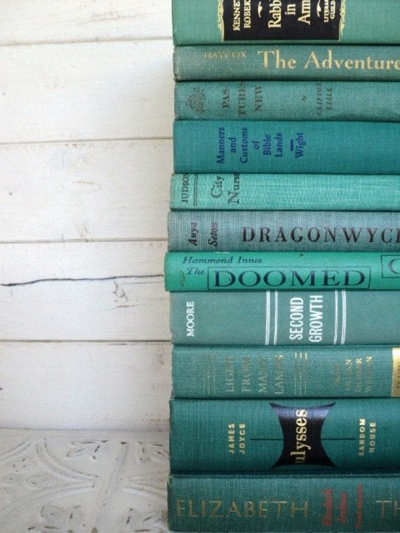 Ocean Books Instant Library Collection Decorative Books Photography Props Turquoise Books by the Foot Teal Green