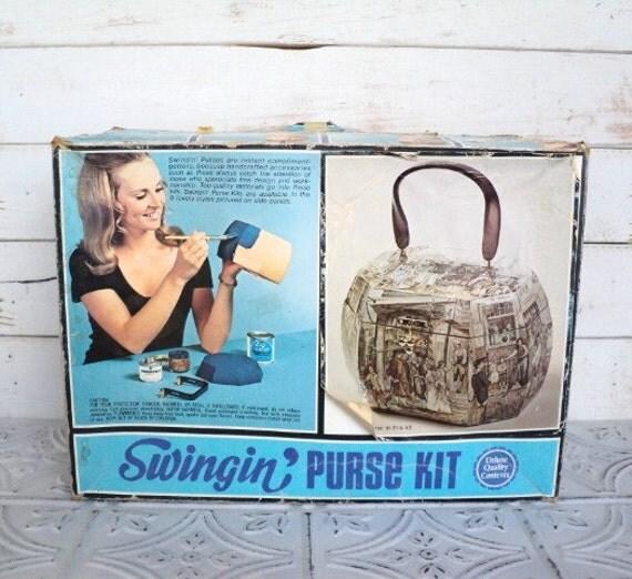 SALE Swingin Purse Kit 1972 Stapco Vintage Decoupage Handbag Early American Style Unused