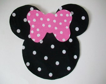 Iron On Minnie Mouse Applique with Iron On Bow