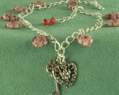 Heart and Key Silver Charm Anklet Handmade