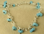 On Sale Handmade Anklet  Tumbled Turquoise Glass Bead Dangles