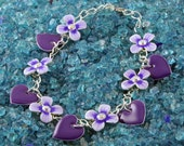 Handmade Purple Heart and Lilac Pansy Charm Silver Anklet