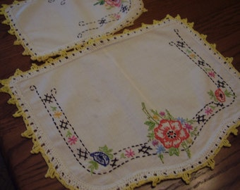 Vintage Embroidered Dresser Set
