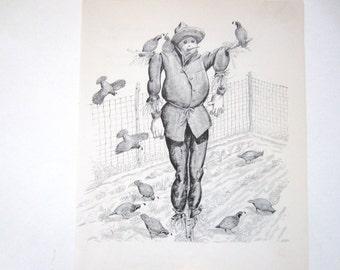 Scarecrow Vintage Book Illustration, Autumn Decor2.3