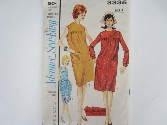 Vintage Dress Pattern, Advance Sew Easy, Size 9 Junior