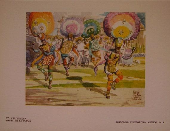 Vintage Book, Mexican Dances, 12 Color Plates, Mexican Illustrations