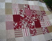 Red, White, and Taupe Throw