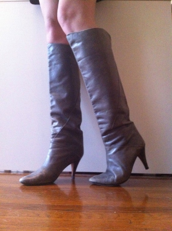 vintage grey knee high soft leather boots with by babysmash