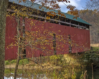Girl Scout Camp Road Covered Bridge Photograph 8x10 Color Print Home Decor