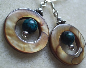 Brown Donut Shell Earrings with Teal Stone Bead