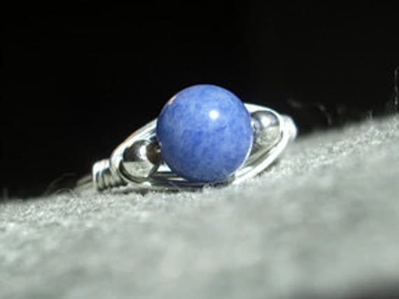 Wrapped Sterling Silver & Sodalite Ring