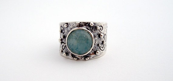 Sterling Silver Ring with Aquamarine Stone Handmade