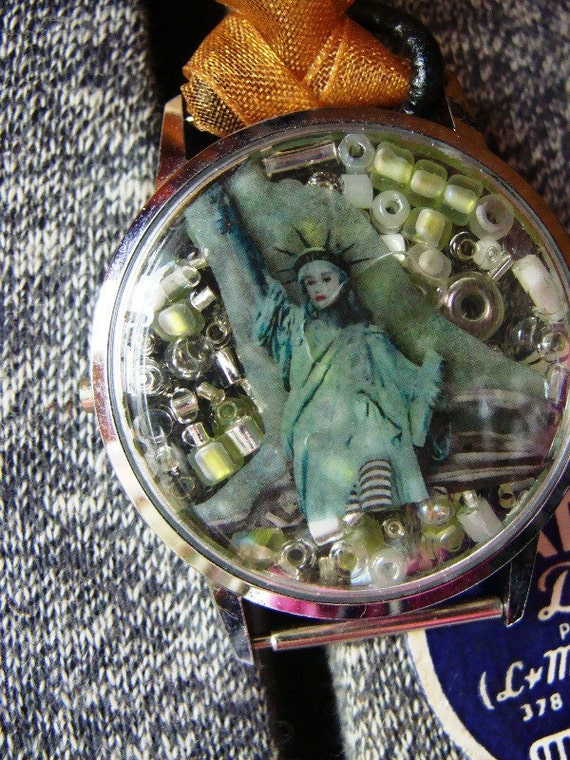 Sale Upcycled Vintage Watch Case Mixed Media Steampunk Necklace: Art Jewelry - ReaganJuel